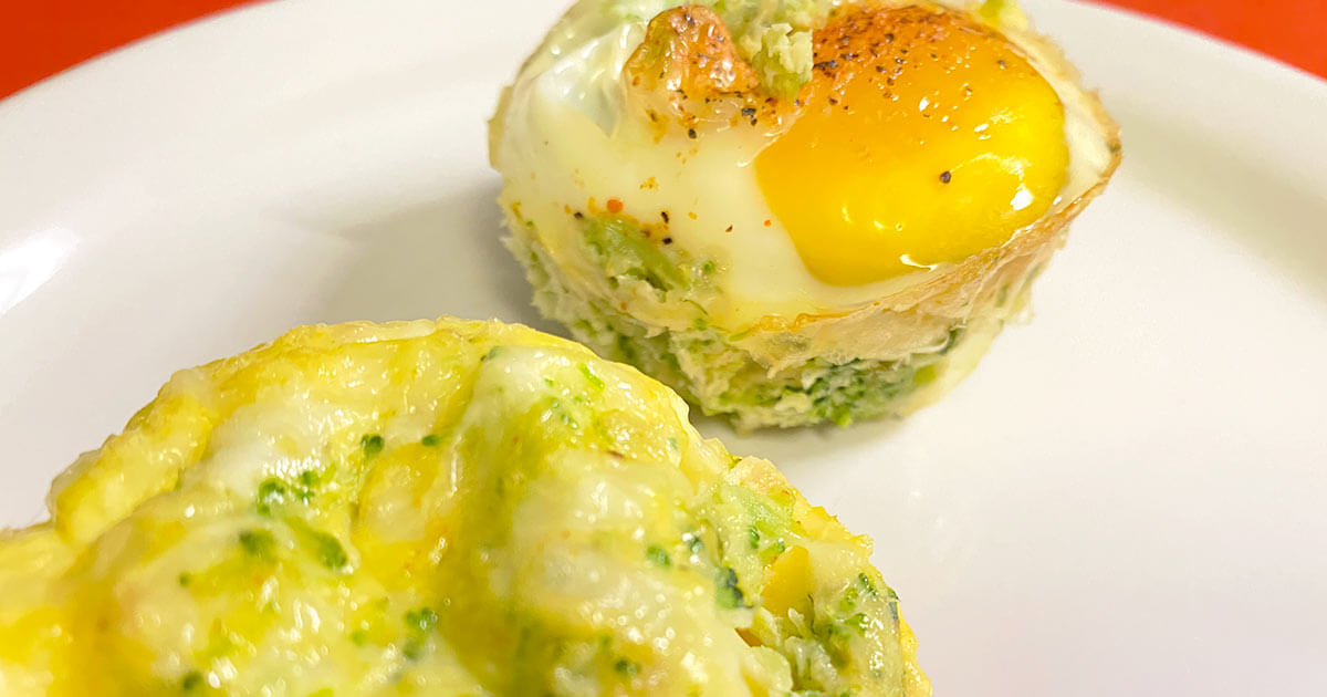 mini broccoli and cheese egg omelets